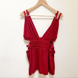 4/$25 Express cut out red blouse L